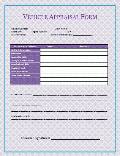 Vehicle Appraisal Form | A to Z Free Printable Sample Forms