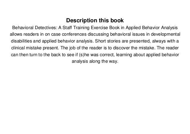 Download Behavioral Detectives: A Staff Training Exercise Book in A…