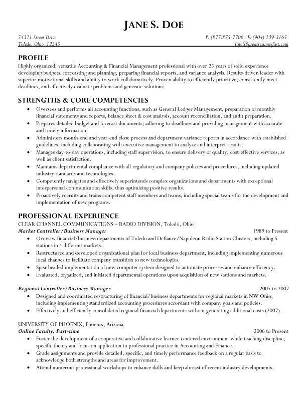 Controller & Business Manager Resume