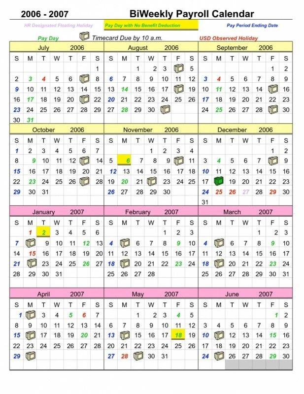 payroll calendar 2018 template
