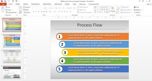 Simple Process Flow Template for PowerPoint #flow #diagram ...