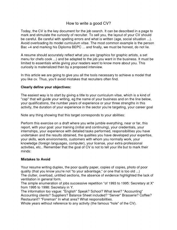 Lovely Ideas How To Write A Good Resume 3 How Write Good CV ...