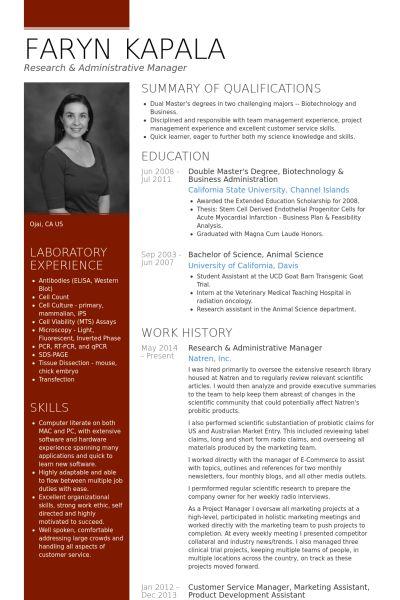 Administrative Resume samples - VisualCV resume samples database