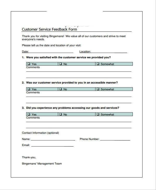 Customer Service Form- 13+ Free Documents in Word, PDF