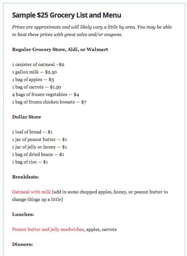 $30 Sample Grocery List | Wall of Usefullness