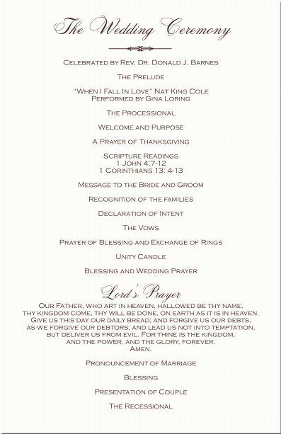 christian+wedding+programs   Ceremony   Ceremony   Pinterest ...