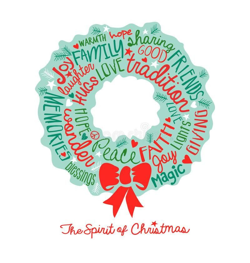 Handwritten Christmas Wreath Card Word Cloud Design Stock Vector ...