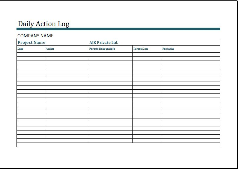 MS Excel Daily Action Log Template | Word & Excel Templates