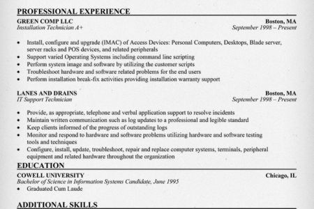 Data Center Technician Resume Sample - Reentrycorps