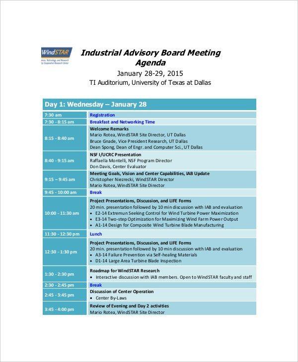 8+ Board Meeting Agenda Templates – Free Sample, Example Format ...