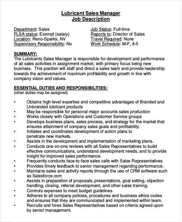 Sales Job Description - 11+ Free Sample, Example, Format   Free ...