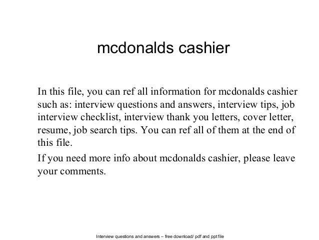 Sample Resume For Mcdonalds Cashier. Cashier Resume Template ...