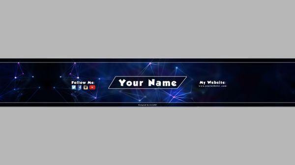 Gaming YouTube Banner Template - Blue (Customizeable)