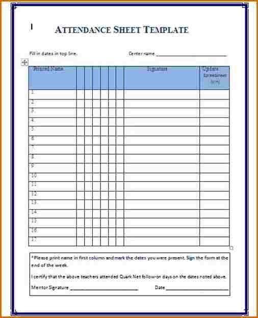 8+ attendance sheet template   Authorizationletters.org