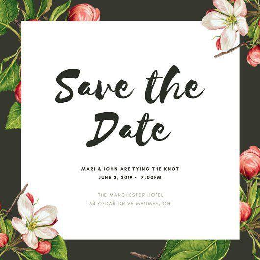 Dark Green Apple Tree in Blossom Save the Date Invitation ...