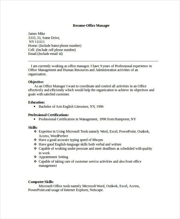 Manager Resume sample Templates - 43+ Free Word, PDF Documents ...