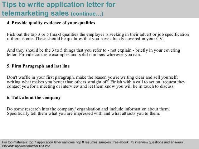 Telemarketing sales application letter