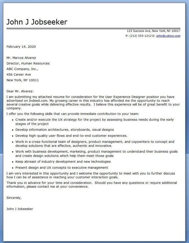 Ui Architect Cover Letter