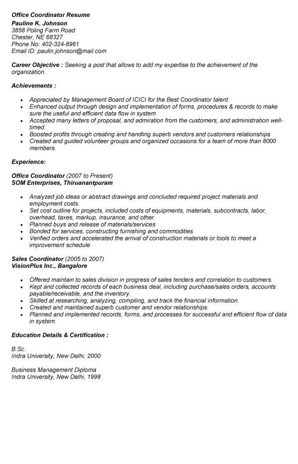 office coordinator resume sample free office coordinator resume