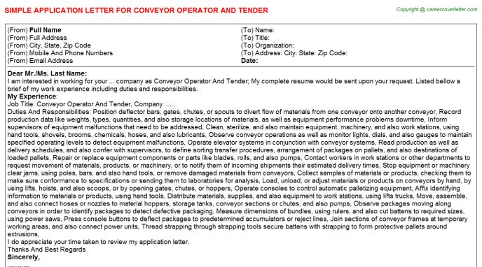 Conveyor Operator And Tender Application Letter