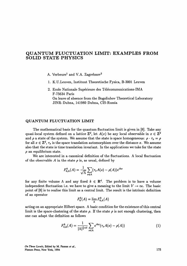 Quantum Fluctuation Limit: Examples from Solid State Physics ...