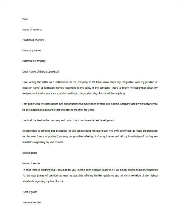 Profeesional Resignation Letter Sample - 9+ Examples in Word, PDF