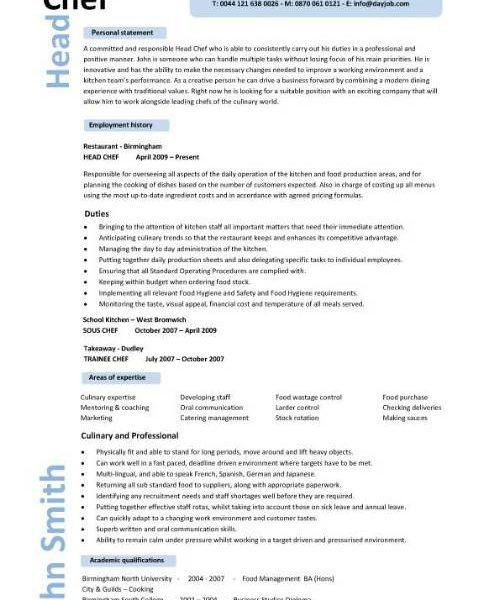 Lofty Inspiration Chef Resumes 1 Resume Sample Examples Sous Jobs ...