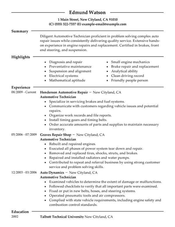Effective Auto Mechanic Resume Template with Simple Format and ...