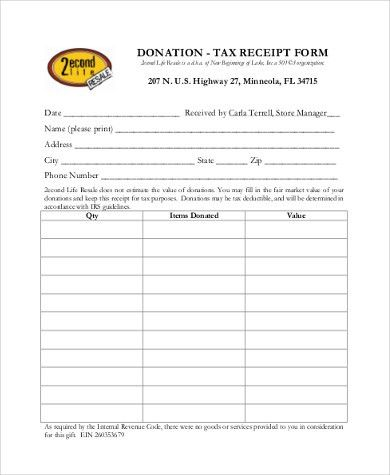 Sample Donation Receipt Forms - 8+ Free Documents in PDF