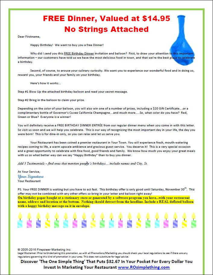Birthday/Anniversary Promotion Letter Template