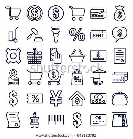 Buy Icons Set Set 25 Buy Stock Vector 646709236 - Shutterstock