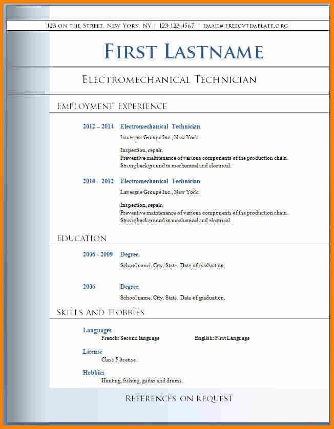 Free Resume Templates For Download. Free Resume Download In Word ...