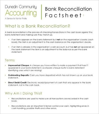 Bank Reconciliation Template - 10+ Free Excel, PDF Documents ...