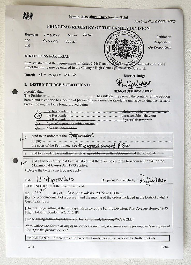 Cheryl Cole's Divorce Papers from her Footballer Husband Ashley ...