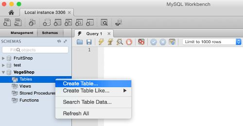 Create a Table using MySQL Workbench