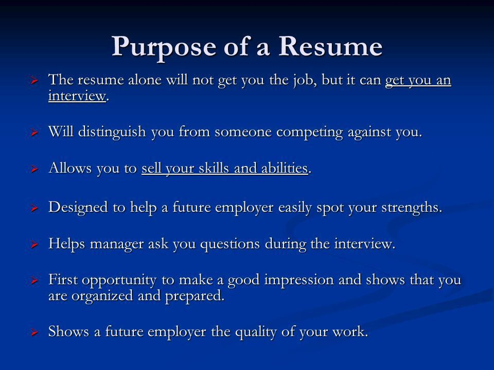 Resume and Cover Letter Workshop. Purpose of a Resume  The ...