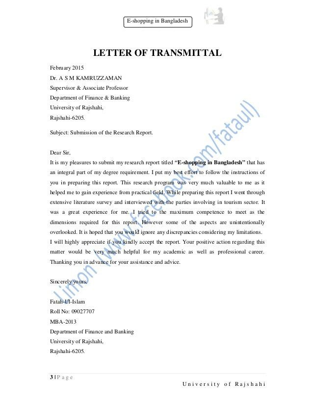 Sample Letter Of Transmittal For Research Paper - Essay for you