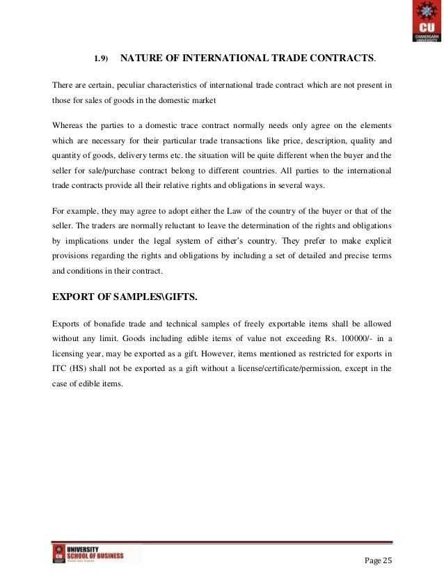 Export Import And Documentation Project Report