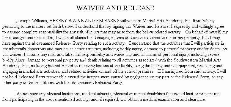 Example Document for General Waiver and Release