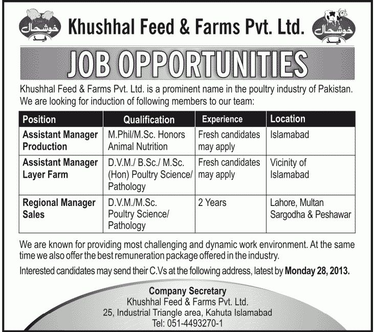 Assistant Managers & Regional Manager Sales Required at Khushhal ...
