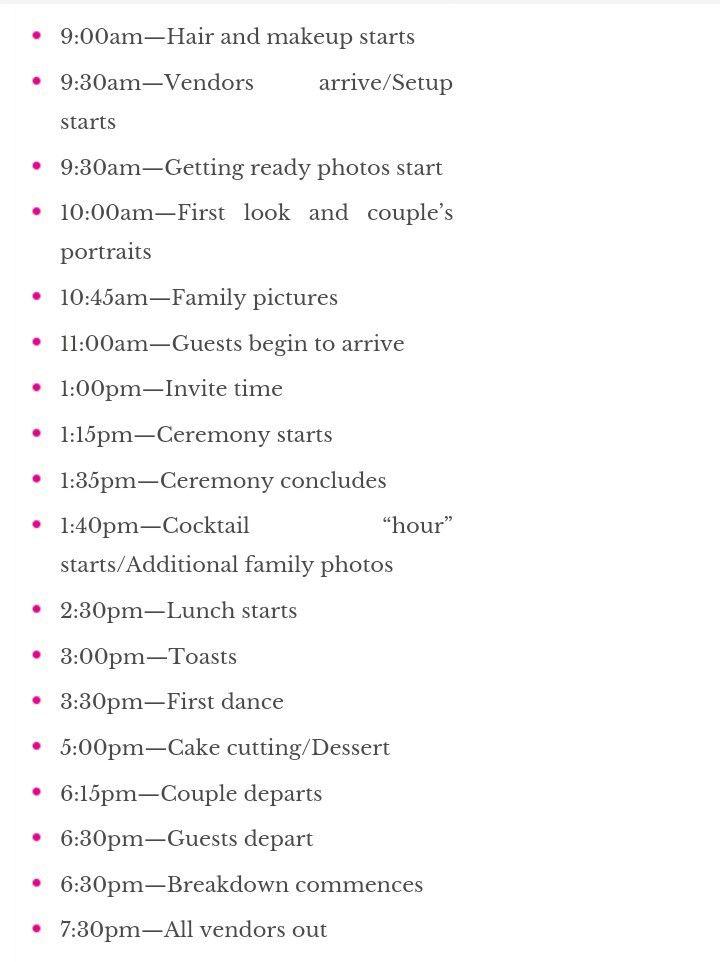 Sample Timeline for an early morning wedding  brunch (although we