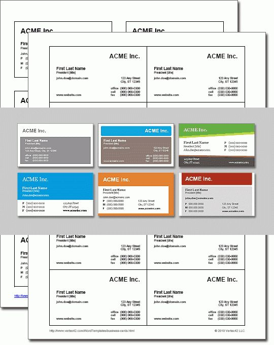 Business Card Templates for Word - Free download and software ...