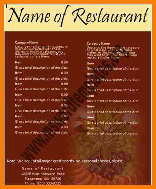 4+ free restaurant menu templates for microsoft word | hostess resume