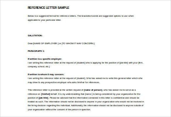 Sample Reference Letter Form - Mediafoxstudio.com