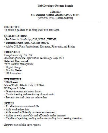 Entry Level Web Developer Resume - The Resume Template Site