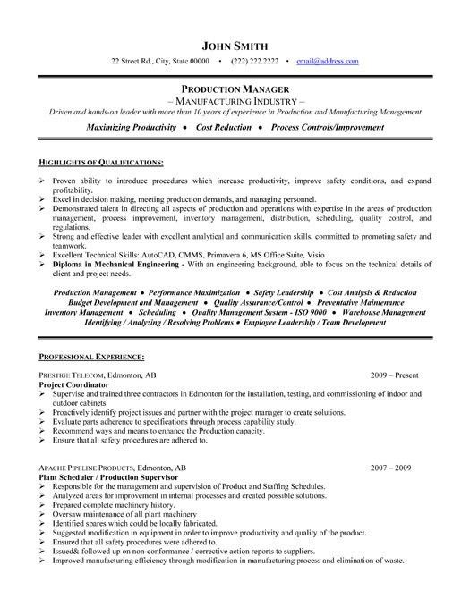 production manager resumes