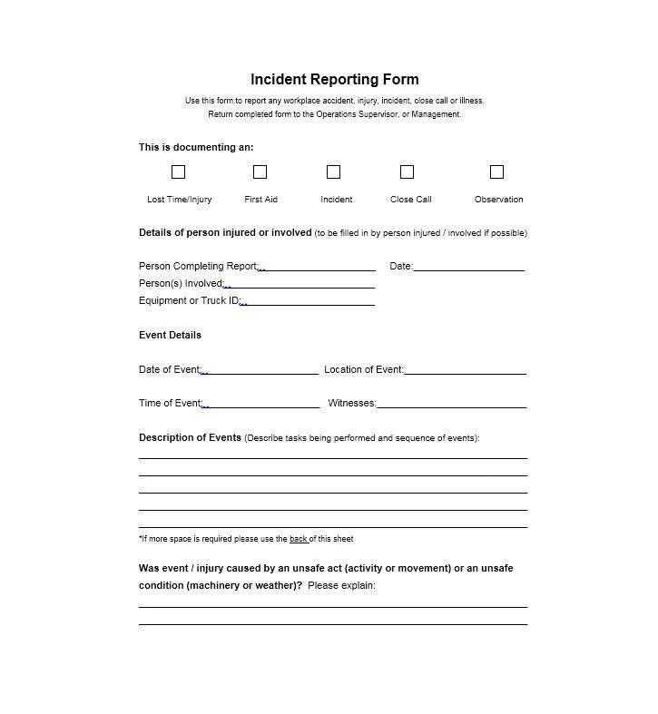 Injury Incident Report Template - Corpedo.com
