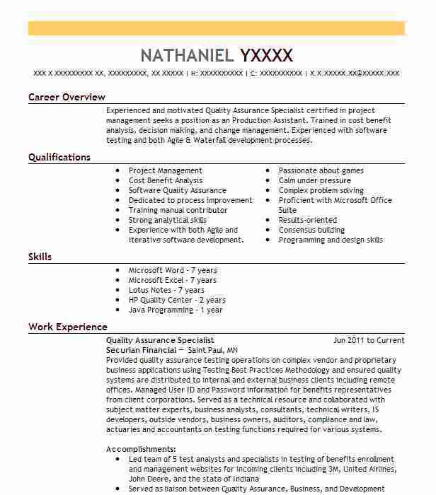 Best Quality Assurance Specialist Resume Example | LiveCareer
