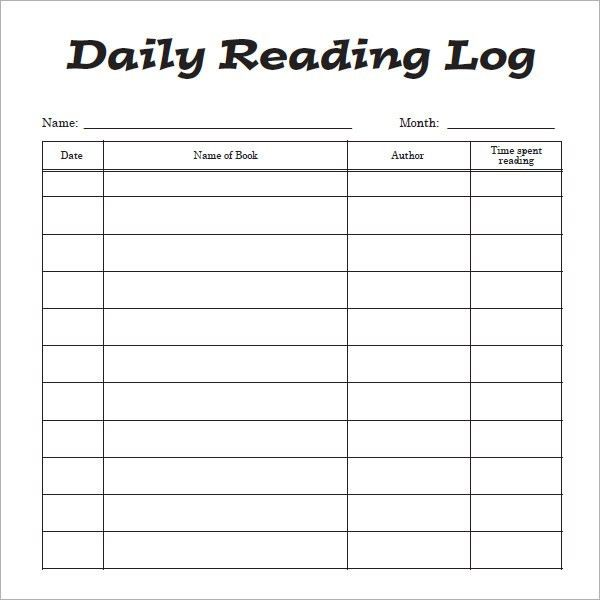 daily log book template