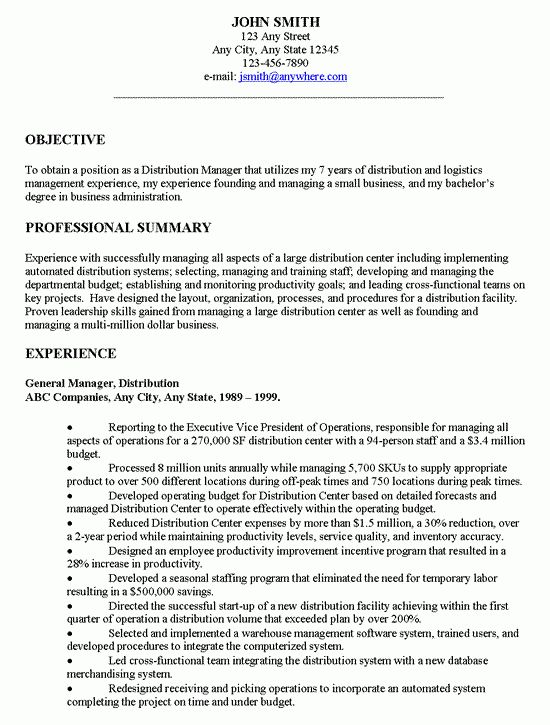 Manager Executive Resume Example